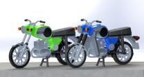 KRES 10251 H0 Motorad MZ TS 250 blau/grün