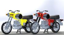 KRES 10261 H0 Motorad MZ TS 250 rot/gelb