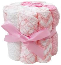 HÜTTE 12er Pack Waschtücher Weiß/Rosa