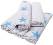 HÜTTE 5er Pack Mulltücher Weiß-Blau Sterne