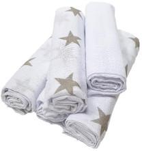 HÜTTE 5er Pack Mulltücher Weiß-Grau Sterne