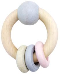 HESS Rundrassel mit Kugel und 3 Ringe nature rosa