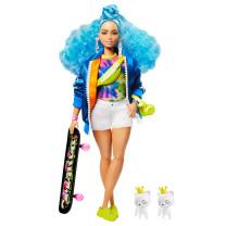 Barbie Extra Puppe mit blauen Haaren u. Skateboard