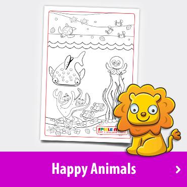Happy Animals Malvorlage